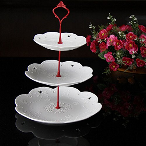 MIJORA-2 or 3-Tier Clear Acrylic Cupcake Plates Stand Wedding Party Display Decor TFFS3 tier red