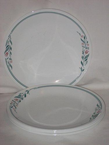 Set Of 6 - Corning Corelle Glass RoseMarie Tulip Pattern 10 Inch Dinner Plates