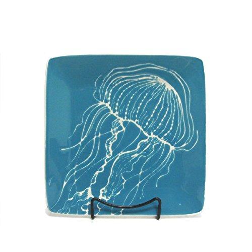 Marine Life Sea Nettle Jellyfish Square Stoneware Salad Plate
