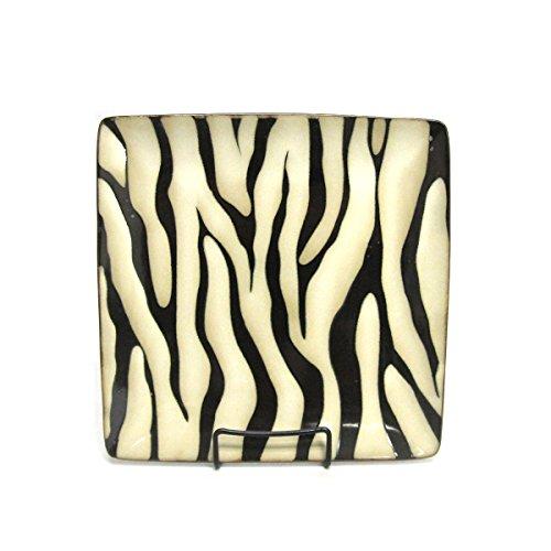 Wildlife Safari Zebra Print Square Stoneware Dinner Plate