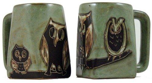 One 1 MARA STONEWARE COLLECTION - 12 Ounce Coffee Cup Collectible Square Bottom Mug - Owl Bird Design