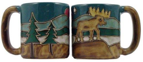 One 1 MARA STONEWARE COLLECTION - 16 Oz Coffee Cup Collectible Dinner Mug - Moose Design
