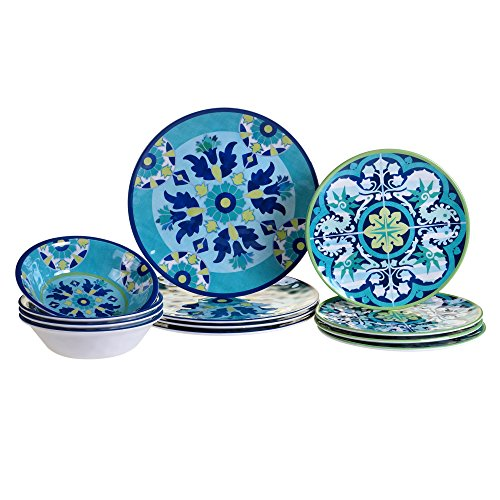 Certified International 12 Piece Granada Melamine Dinnerware Set Multicolor