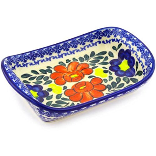 Ceramika Bona H1814G Polish Pottery Ceramic Platter with Handles Hand Painted 7-Inch