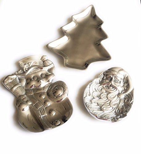 Christmas Pewter Plates Trio - Santa Claus Snowman Xmas Tree