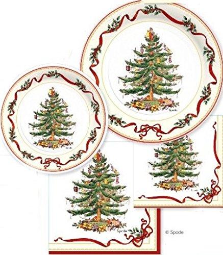 spx72i Serves 16 Spode Christmas Tree Paper Plates Napkins 72 Pcs