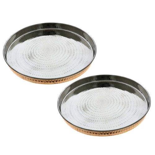 Indian Dinnerware Copper Stainless Steel Large Dinner Plate Thali Set of 2 Diameter 12 Inch