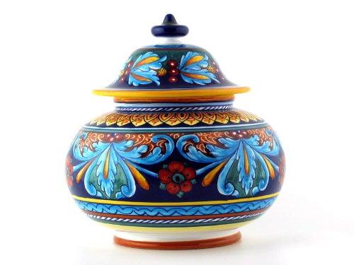 Hand Painted Italian Ceramic 10-inch Biscotti Cookie Jar Geometrico 64E - Handmade in Deruta