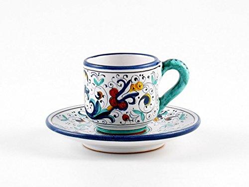 Hand Painted Italian Ceramic Espresso Cup Saucer Ricco Deruta Blu - Handmade in Deruta