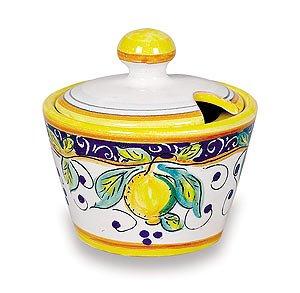 Arte DItalia Imports Hand Painted Italian Ceramic Alcantara Sugar Bowl - Handmade in Deruta