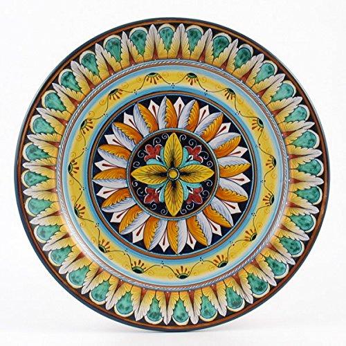 Hand Painted Italian Ceramic 125-inch Charger Platter Vario F1 - Handmade in Deruta