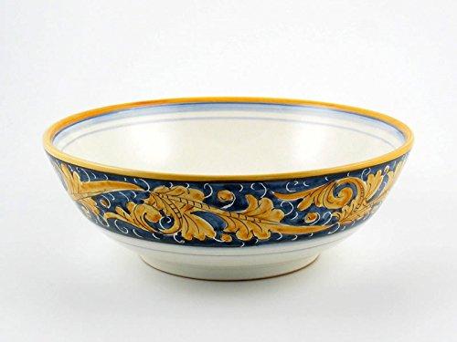 Hand Painted Italian Ceramic 13-inch Serving Bowl Rinascimento Blu e Giallo - Handmade in Gubbio Italy