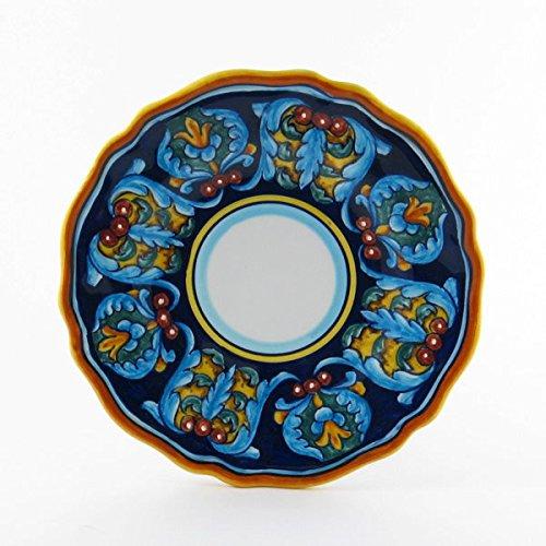 Hand Painted Italian Ceramic 82-inch Salad Dessert Plate Scallop Rim Geometrico 35E - Handmade in Deruta