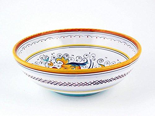 Hand Painted Italian Ceramic 8-inch Soup Pasta Bowl Raffaellesco - Handmade in Deruta