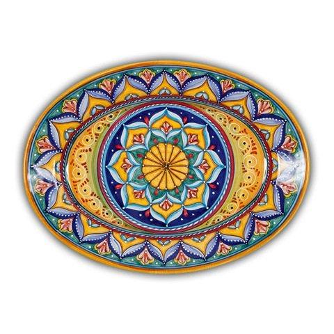 Hand Painted Italian Ceramic Geometrico Oval Platter B - Handmade in Deruta