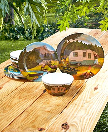 The Lakeside Collection 12-Pc Retro Camping Dinnerware Set
