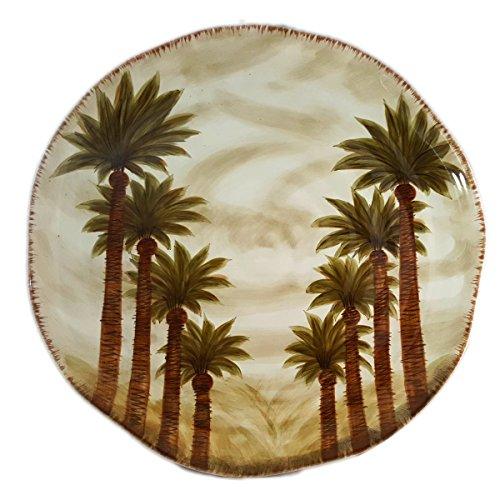 Tabletop Unlimited Fiji Palm Tree Large Ceramic Platter Round 18