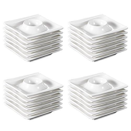 Malacasa Series Carina 24-Piece Ivory White Porcelain China Ceramic Cream White Egg Stand Holder Cups Plates