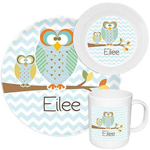 Kids Personalized Dishes Autumn Owls Melamine Set