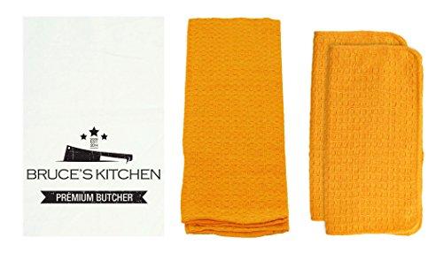 R&R Textile Mills 8 Piece Personalized Premium Butcher Dish Towel Set Gold
