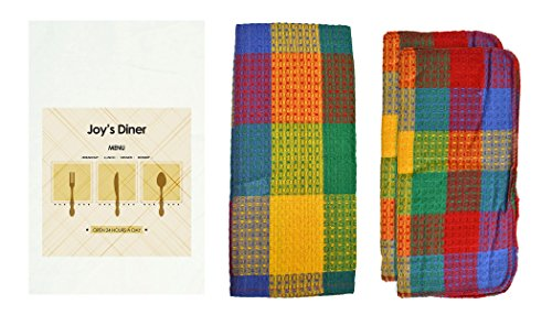 R&R Textile Mills 8 Piece Personalized Restaurant Menu Dish Towel Set Rainbow