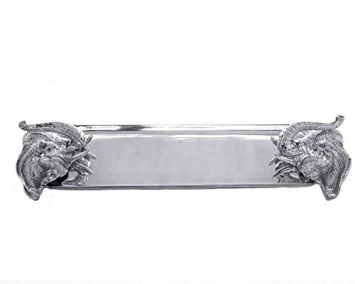 Arthur Court Designs 22 x 75 Aluminum Elephant Oblong Tray