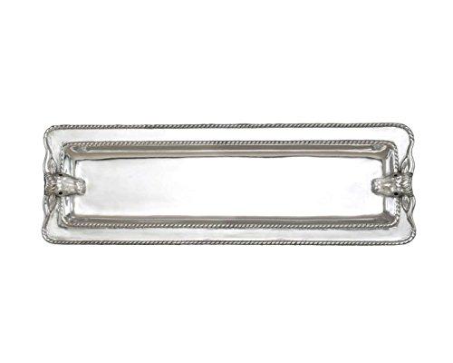 Arthur Court Designs Aluminum 17 x 6Longhorn with Braid Oblong Tray