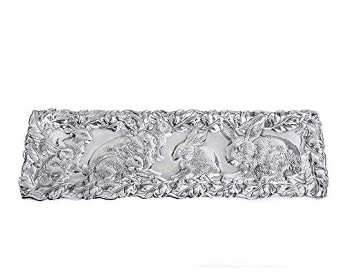 Arthur Court Designs Aluminum 19 x 6Bunny Oblong Tray