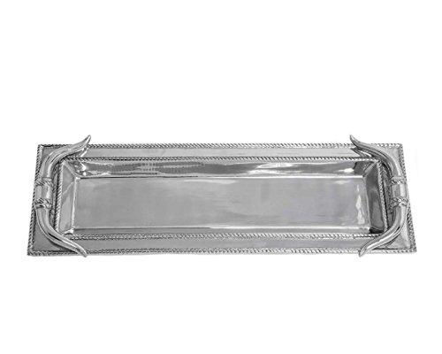 Arthur Court Designs Aluminum 19 x 6 Longhorn Oblong Tray
