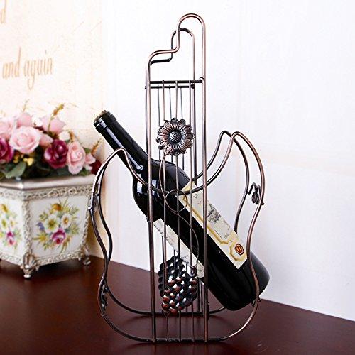 Modern Fashion Violin Shape Stainless Steel Wine Rack Bottle Holder Bronze