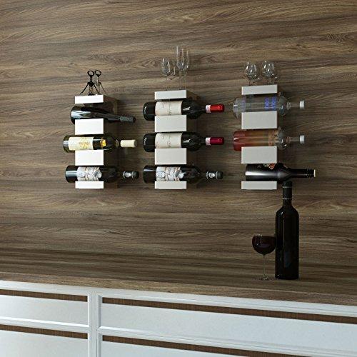 Set of 3 Stainless Steel Wine Rack - Wide Multi Bottle Holder with Top Shelf Section - Modern Art Design - Wall Mount Holds 9 Bottles