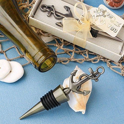 Antiqued Brass Toned Anchor Design Metal Bottle Stopper
