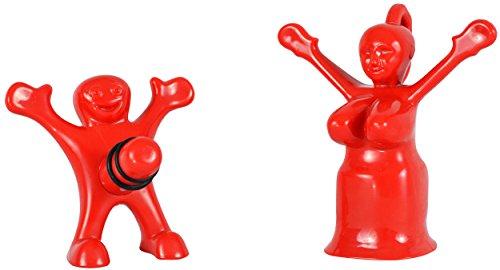 Fairly Odd Novelties Sir Perky and Mrs Perky Novelty Wine Bottle Stopper Set Red
