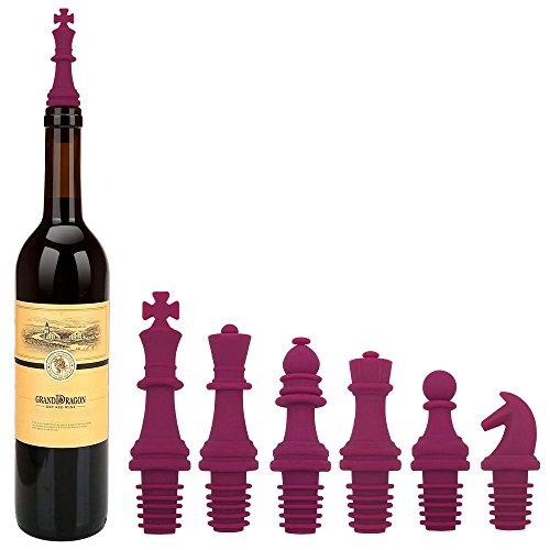 Wine Stopper KITTEC Novelty Chess Wine Bottle Stopper Set Reusable Silicone Caps Beer Sealer Cover for Wine Beer Champange Alcohol Sparkling Wine Set of 6 Fushia