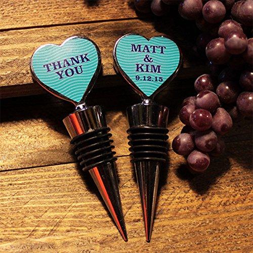 Personalized Blue Wave Heart Wine Bottle Stopper Party Favor