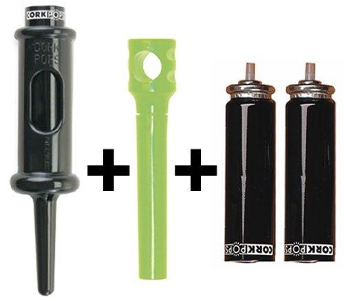 Cork Pops Bottle Opener with 2 Refill Cartridges and 1 Pocket Corkscrew