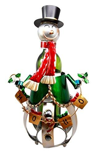 Atlantic Collectibles Christmas Jolly Season Snowman Hand Made Metal Wine Bottle Holder Caddy Decor Figurine 16H