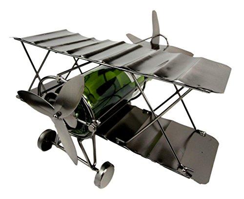 Atlantic Collectibles Single Piston Propeller Airplane Hand Made Metal Wine Bottle Holder Caddy Decor Figurine 1325L
