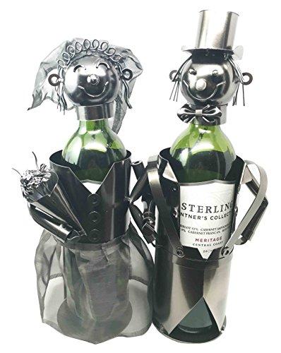 Beautiful Bridal Wedding Bride Groom Couple Hand Made Metal Wine Bottle Holder Caddy