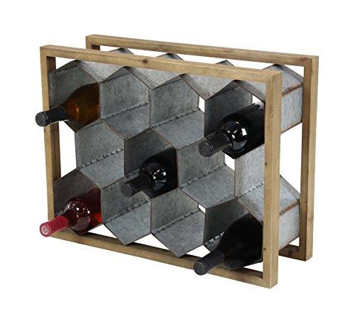 Deco 79 85239 Double-Framed Honeycomb Fir Wood Metal Wine Holder BrownGray