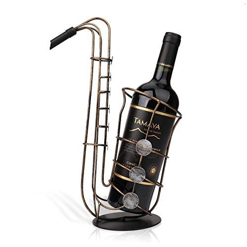 Metal Sax Wine Rack Beautiful Crafts Artwork Gift Wine Holder Figurines Creative Wine Bottle Stand Practical Decoration