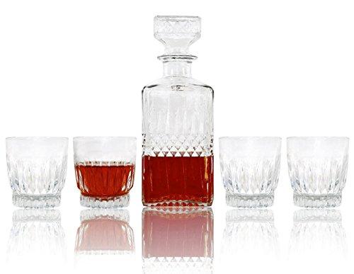 Luminarc Diamond 5pc Whisky Crystal-Clear Glass Decanter SET Lead-Free 30 Oz
