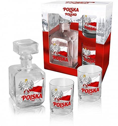Polish Eagle on Flag Whiskey Glass Decanter Set