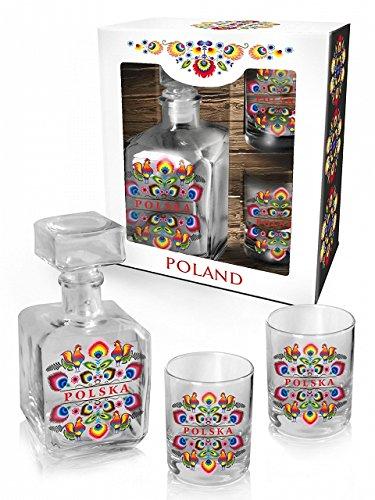 Polish Folk Art Whiskey Glass Decanter Set