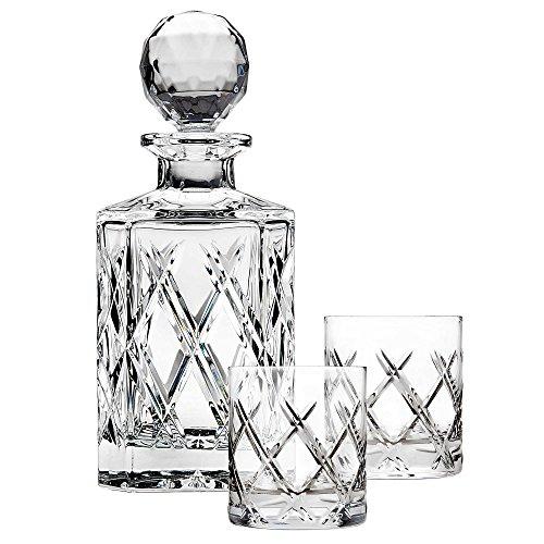 Top Shelf Bevel 3-Piece Whiskey Set Decanter has 25 oz  1325 oz glasses 776 L x 433 W x 1016 H  325 W x 4 H