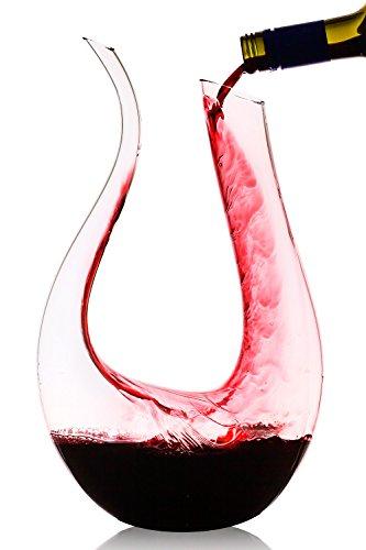 Culinaire 1750 ml  592 oz  U Shaped Crystal Glass Wine Decanter  Wine Carafe
