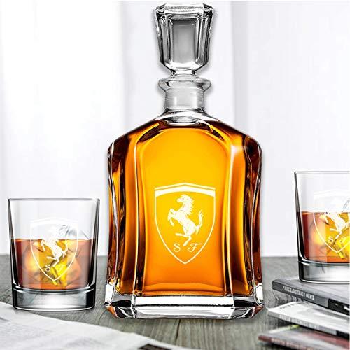 Capitol Whiskey Decanter Gift Set - FC Scuderia Ferrari Logo - Decanter and 10oz Rocks Glasses - 3PCS