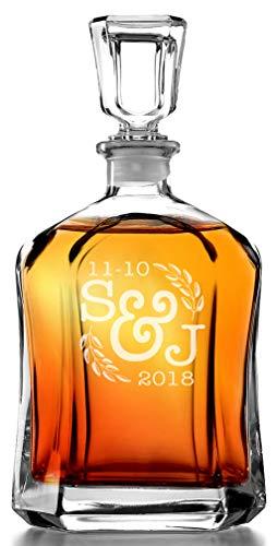 Initial Wreathe Monogram Custom Engraved Whiskey Decanter Personalized Mens Gift for Home Barware Decor Favor for Wedding Bridal Shower