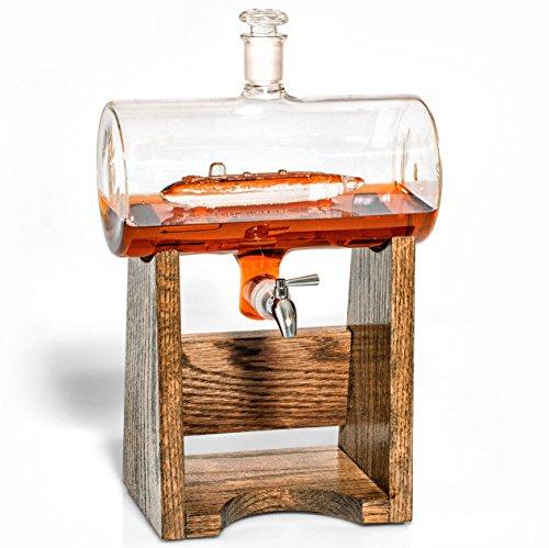 Submarine Decanter -Scotch Whiskey Decanter- Liquor Dispenser for Bourbon Rum Wineetc- Gift for US Navy Submarine Veteran 1150ml Decanter with Submarine Gift for Submariner by Prestige Decanters