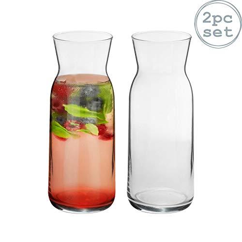 Argon Tableware 2 Piece Brocca Glass Water Carafe Set - Decanter Jug for Water Wine Iced Tea - 700ml